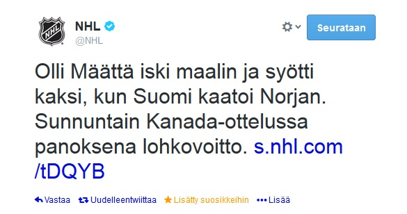 NHL tweets in Finnish